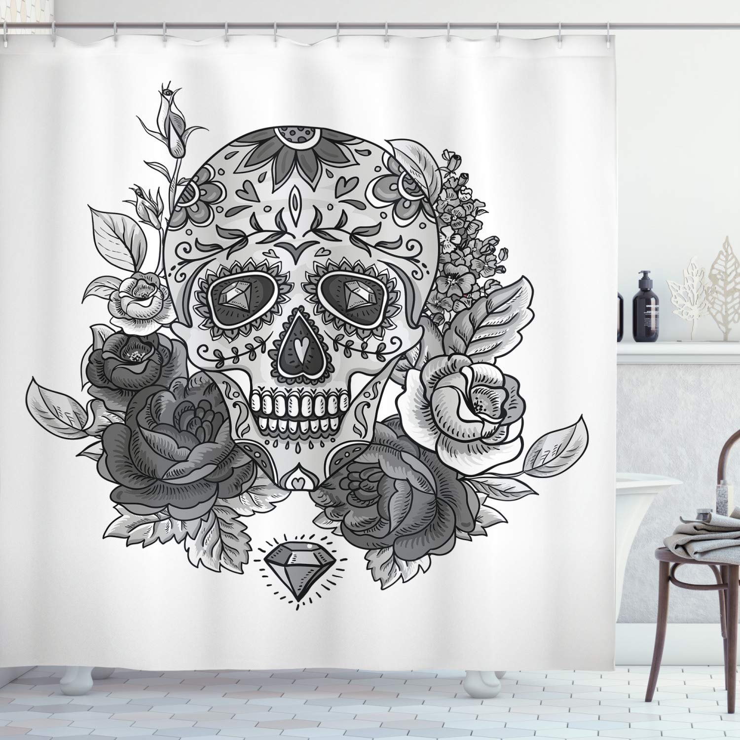 """Ambesonne Sugar Skull Shower Curtain, Monochrome Skull with Roses Leaves and Diamond Shape Folklore Festival Print, Cloth Fabric Bathroom Decor Set with Hooks, 84"""" Long Extra, Monochrome"""