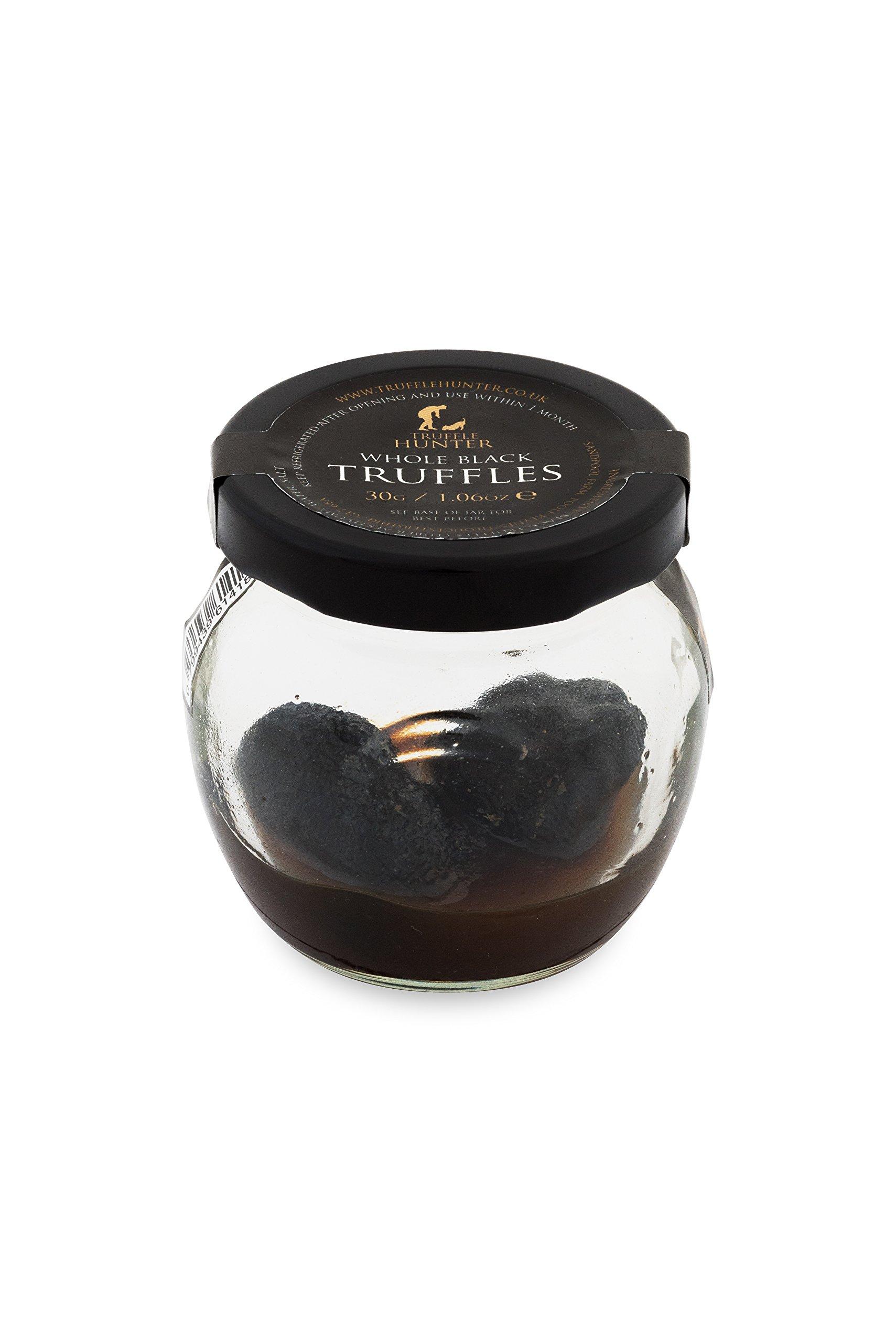 TruffleHunter Whole Black Truffles (Tuber Aestivum) Preserved in Brine (1.06 Oz) - Truffle Mushroom Gourmet Food - Vegan Vegetarian Kosher & Gluten Free - No MSG and Non-GMO