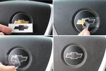 Reflective Concepts Steering Wheel Bowtie Overlay Decal - 2007-2013 Chevrolet Silverado - (Color: 3D Carbon Fiber)