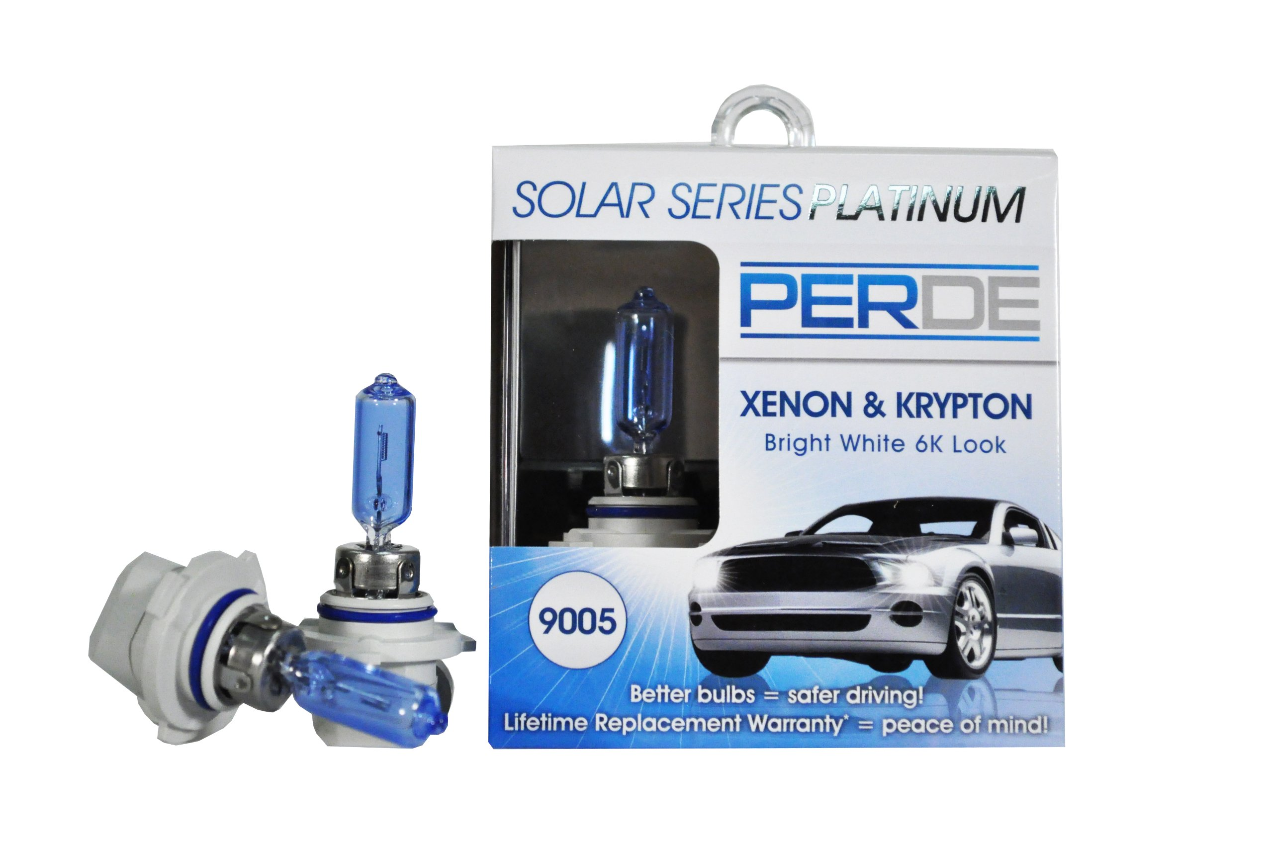 PERDE Solar Series Platinum Xenon Enhanced Halogen Bulbs Set of 2 (9005)