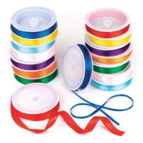 Baker Ross Coloured Satin Ribbon Value Pack 8 Colour, 4mm & 10mm 7.5m/Reel for Kid's Craft & Card Making(Pack of 16 reels)