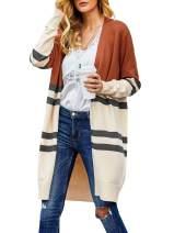Tutorutor Womens Color Block Cardigan Sweaters Lightweight Boho Open Front Knitted Draped Kimono Striped Duster Coat