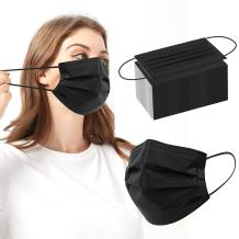 Black Disposable Face Mask 4 Ply Medical Face Mask With Metal Nose Clip Breathable Face Mask Safety For Protection Women Men 100 PCS