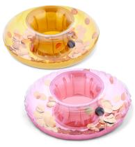 CoTa Global Inflatable Pool Float Ring Tube Drink Holder (2pc Set) Sparkling Confetti Heavy Duty Vinyl Flotation for The Beach, Party, Vacation, Pool- UV Resistant - Pool Party (Rose Gold & Gold)