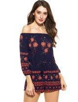 Zeagoo Women's Off Shoulder Long Sleeve Bohemian Floral Embroidered Playsuit Jumpsuit Romper