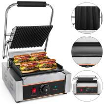 Mophorn Sandwich Press Grill Panini Maker and Grill Commercial Panini Grill Durable Stainless Steel Construction with Adjustable Temperature Control Cooking Non Stick Surface (LD-811C)