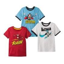 DC Comics Superheroes Boys 3 Pack Short Sleeve T Shirt Featuring Superman, Batman and The Flash
