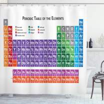 "Ambesonne School Shower Curtain, Periodic Table of Elements Design Colorful Checkered Squares Science Class Theme, Cloth Fabric Bathroom Decor Set with Hooks, 84"" Long Extra, Purple Blue"