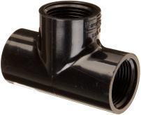 "Spears 405-B Series PVC Pipe Fitting, Tee, Schedule 40, Black, 1-1/4"" NPT Female"
