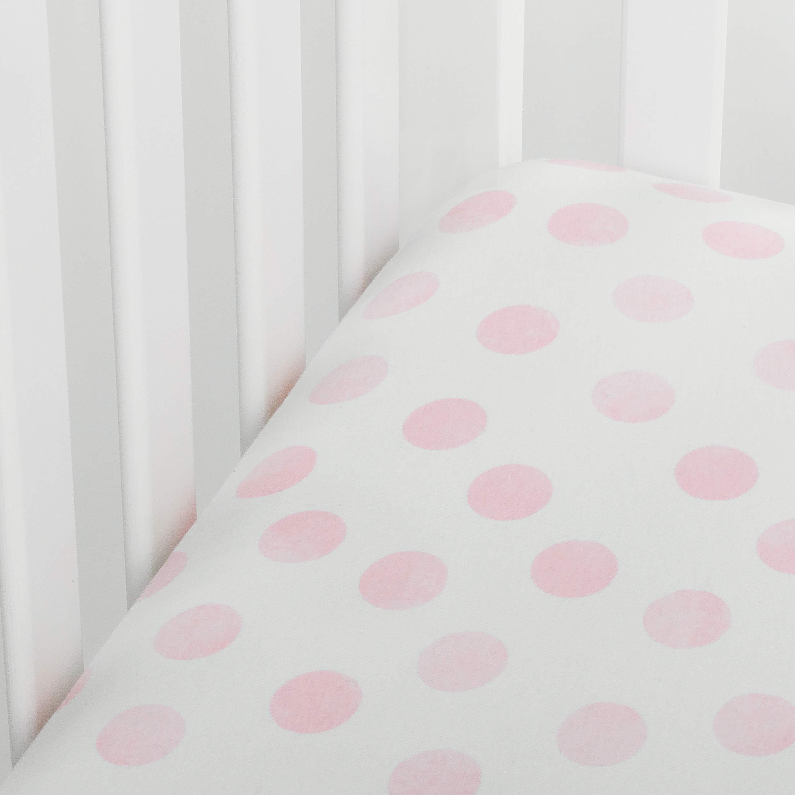 Andi Mae Crib Sheet - Watercolor Pink Dots - 100% Jersey Cotton - Fits Standard Crib or Toddler Mattresses