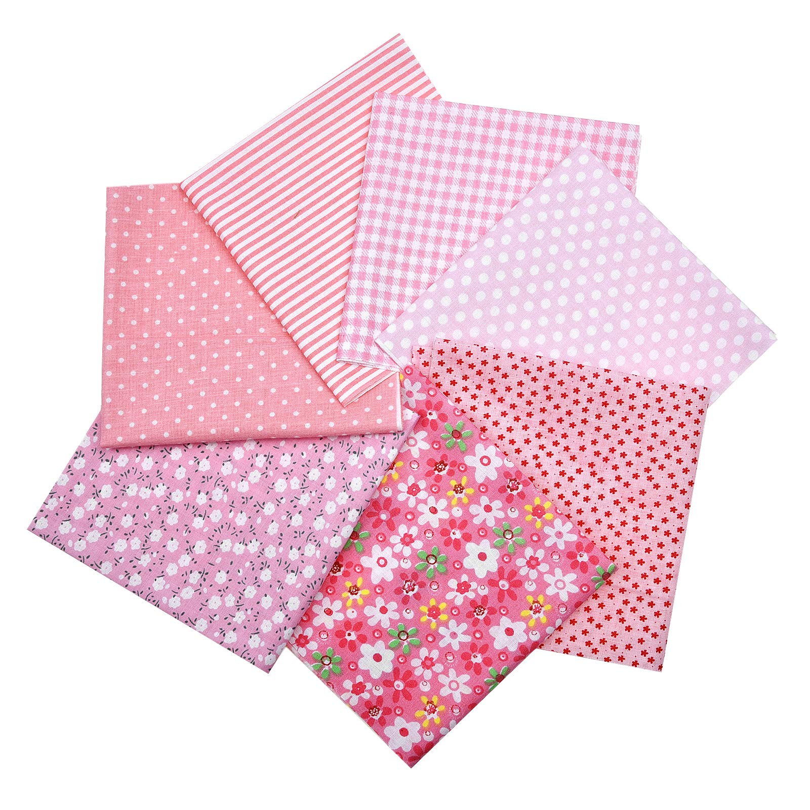 ZUZZEE Fabric Squares DIY Cotton Brown Series 7 Assorted Pre Cut Charm Quilt 25x25cm for Handmade Color in Pink