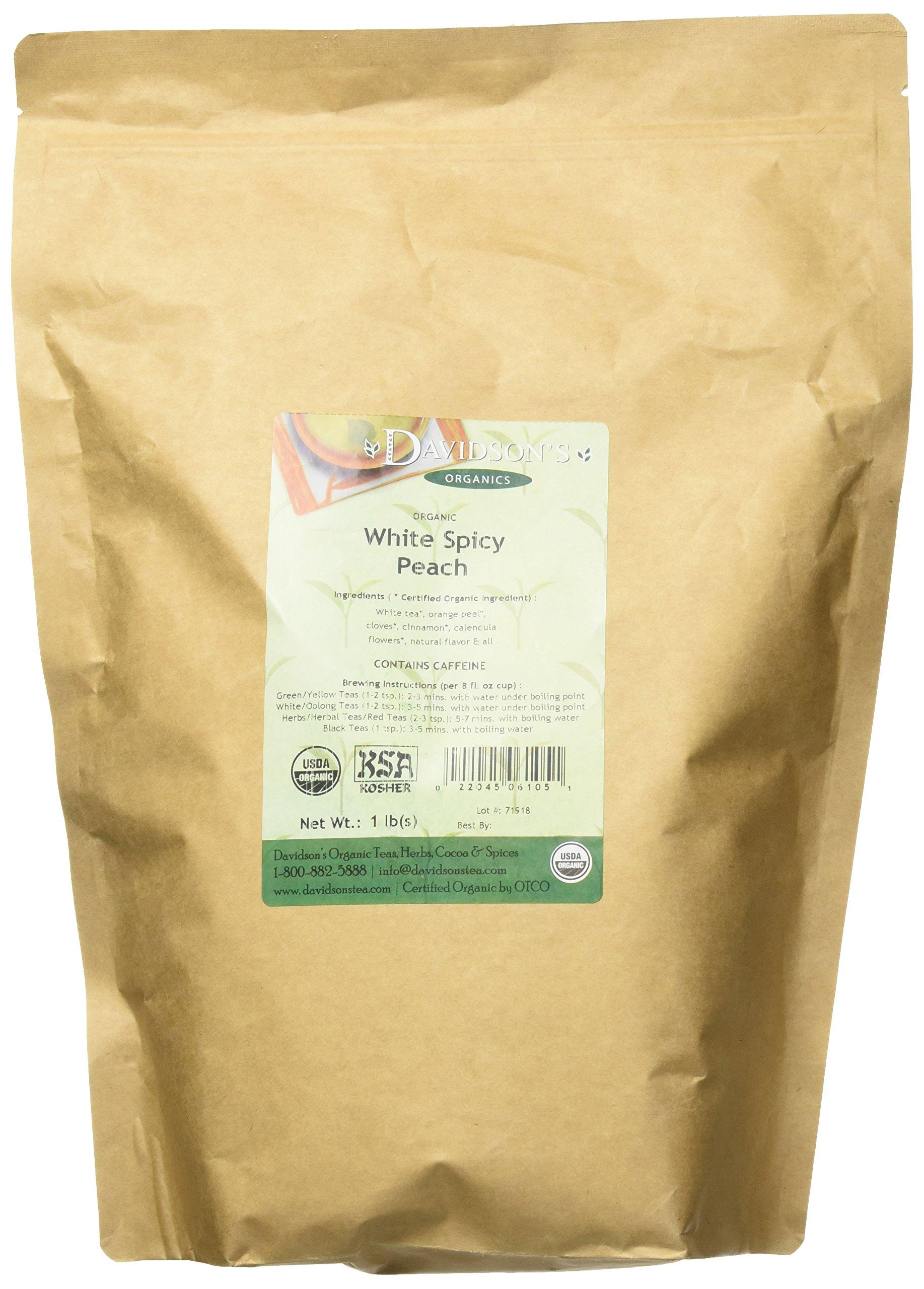 Davidson's Tea, Organic, White Spiced Peach, 16-Ounce Bag