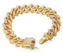 Halukakah Gold Chain for Men Iced Out,Men's 13MM 18k Real Gold Plated/Platinum White Gold Finish Miami Cuban Link Lightning Chain Choker Necklace Bracelet,Full Cz Diamond Cut Prong Set,Gift for Him
