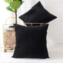 MERNETTE Pack of 2, Corduroy Soft Decorative Square Throw Pillow Cover Cushion Covers Pillowcase, Home Decor Decorations for Sofa Couch Bed Chair 22x22 Inch/55x55 cm (Striped Black)
