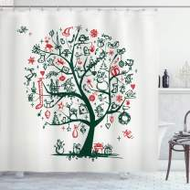 """Ambesonne Christmas Shower Curtain, Large Tree with New Year Ornaments Presents and Candles Angels Holiday Theme, Cloth Fabric Bathroom Decor Set with Hooks, 70"""" Long, Green Vermilion"""