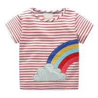 Toddler Kids Little Girls Boys Rainbow Stripe Shirt Short Sleeve T-Shirt Blouse Tops