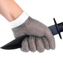 Stainless Steel Glove, Food Grade 304L Steel Mesh Chainmail Glove Hand Safe Cut Resistant Kitchen Cutting Glove (1 Piece), 1 Free Glove Tightener Included