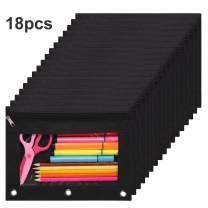 Acetiamin 10 x 7 3 Ring Binder Pouch with Zipper Closure Binder Pencil Pen Case 18 Packs Black