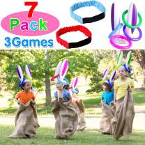 """7 Players Outdoor Lawn Games; 40"""" x 24"""" Potato Sack Race Bags, Legged Relay Race Bands Elastic Tie Rope for All Ages Kids and Family, Outside Lawn Games Party Supplies Décor Props Decorations"""