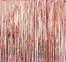 Rose Gold Foil Fringe Backdrop - Pack of 2 | Shiny Metallic Tinsel Foil Curtain | Ideal for Bridal Shower, Wedding, Birthday, Christmas, New Year | Door Windows Wall Decoration