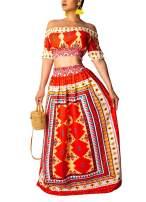 Summer Outfits Bohemian Maxi Dress - Floral Beach Dresses for Women Off Shoulder Crop Top+Maxi Dress
