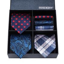 HISDERN Lot 3 PCS Classic Men's Silk Tie Set Necktie & Pocket Square - Multiple Sets ¡­