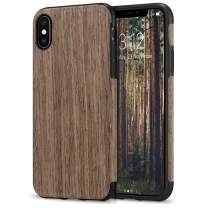 TENDLIN Compatible with iPhone Xs Max Case Wood Grain Outside Design and Flexible TPU Silicone Hybrid Slim Case Compatible with iPhone Xs Max (Black Rose)