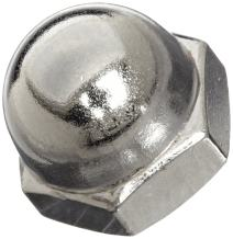 Steel Acorn Nut, Nickel Plated Finish, Right Hand Threads, #8-32 Threads (Pack of 100)