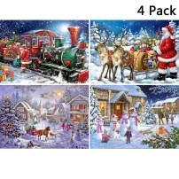 4 Pack Full Drill Christmas Diamond Painting Kit, KISSBUTY DIY Diamond Rhinestone Painting Kits for Adults Beginner Diamond Arts Craft Home Decor, 15.8 X 11.8 Inch (Christmas Santa Claus Snowman)