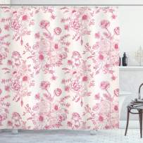 """Ambesonne Floral Shower Curtain, Romantic Rose Flower Bouquet Blooms in Soft Pastel Tones Botanical Rococo Design, Cloth Fabric Bathroom Decor Set with Hooks, 70"""" Long, Pink"""