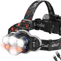 Headlamp, USB Rechargeable LED Headlamp Flashlight, 8 Modes Waterproof Head Lamp with Red Light, Ultra Bright Headlight Headlamps for Adults, Camping, Work Light, Outdoors