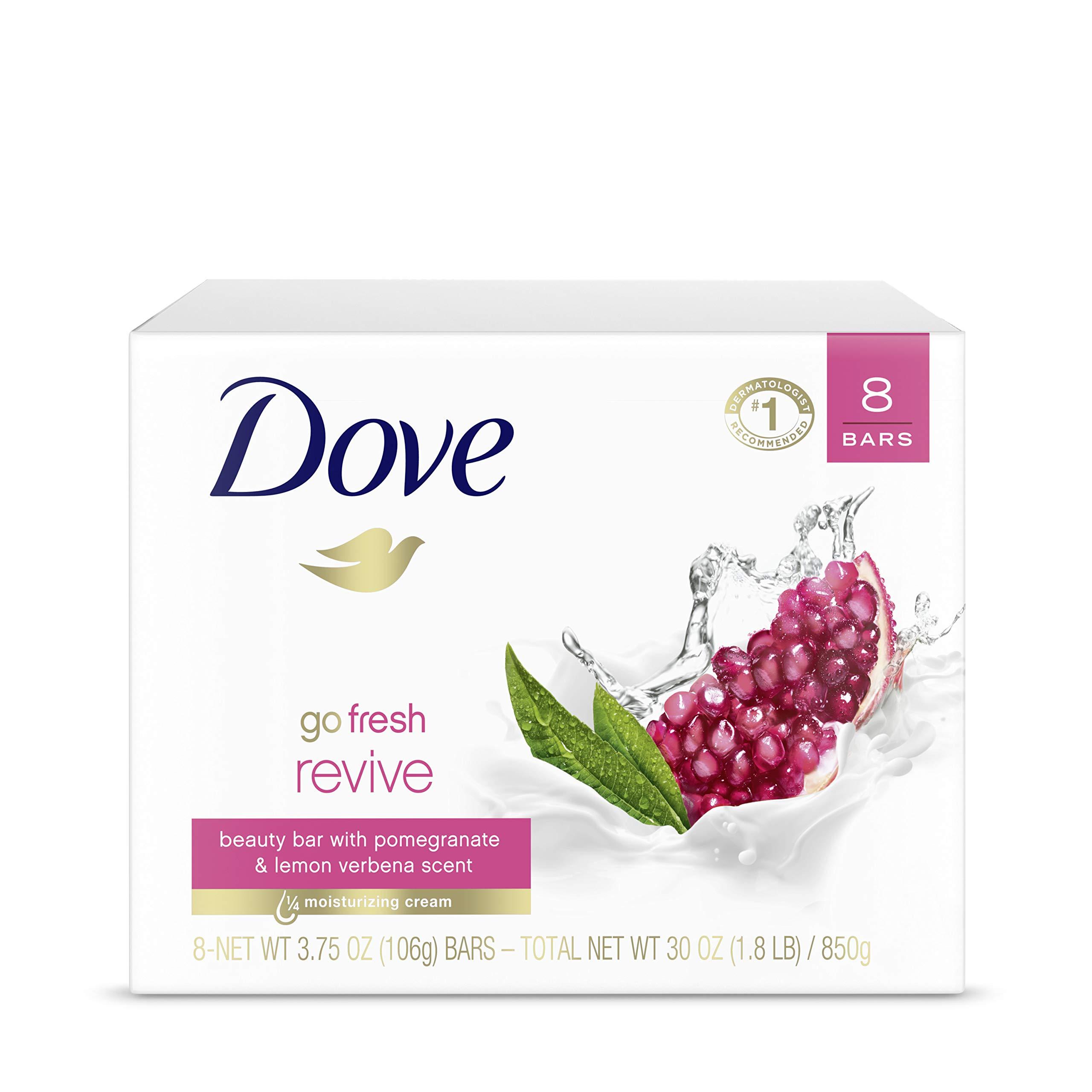 Dove go fresh Beauty Bar More Moisturizing Than Ordinary Bar Soap Revive Scented With Pomegranate and Lemon Verbena 3.75 oz 8 Bars