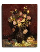 DECORARTS - Vase with Asters and Phlox 1886, Vincent Van Gogh Art Reproduction. Giclee Canvas Prints Wall Art for Home Decor 20x16