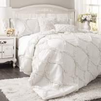 Lush Decor Avon Comforter Ruffled 3 Piece Bedding Set with Pillow Shams, King, White