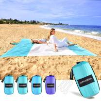 AlphaBeing Beach Blanket Sandproof, Large Sand Free Beach Mat, Oversized Lightweight Portable Mat for Picnic, Camping, Hiking, Ideal Beach Accessories with 4 Corner Pockets & 6 Stakes