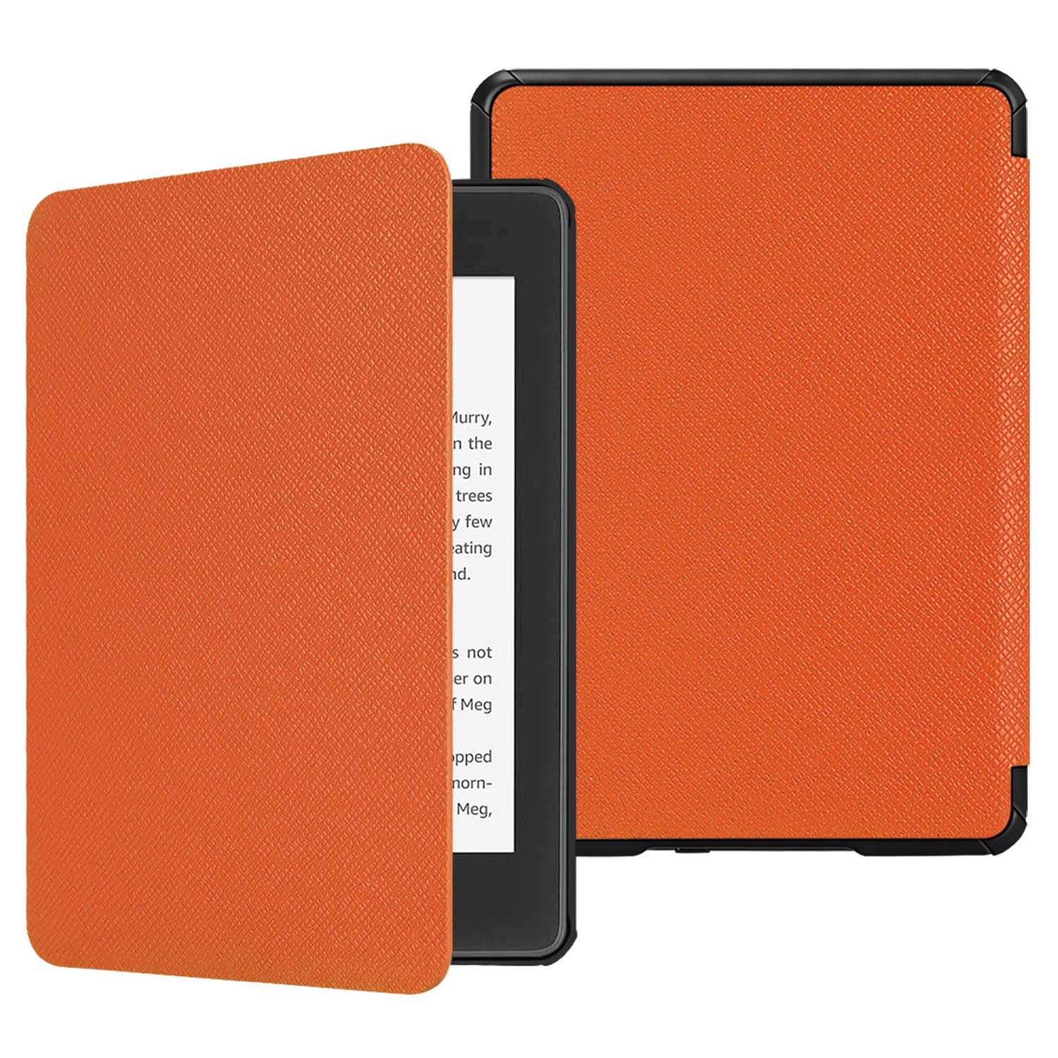 Fintie Slimshell Case for All-New Kindle Paperwhite (10th Generation, 2018 Release) - Premium Lightweight PU Leather Cover with Auto Sleep/Wake for Amazon Kindle Paperwhite E-Reader, Orange