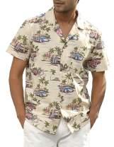PJ PAUL JONES Men's Hawaiian Shirts Short Sleeve Casual Button Down Beach Shirt