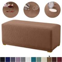 Granbest Premium Water Repellent Ottoman Cover High Stretch Rectangle Folding Storage Stool Ottoman Slipcovers (Ottoman Oversized, Coffee)