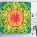 "Ambesonne Ethnic Shower Curtain, Mandala Tie Dye Effect Design Flower Children Kids Children Inspired, Cloth Fabric Bathroom Decor Set with Hooks, 70"" Long, Blue Red"