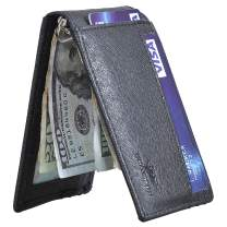 Yuhan Pretty Money Clip Wallet Mens RFID Blocking Slim Front Pocket Card Wallet (B Black)