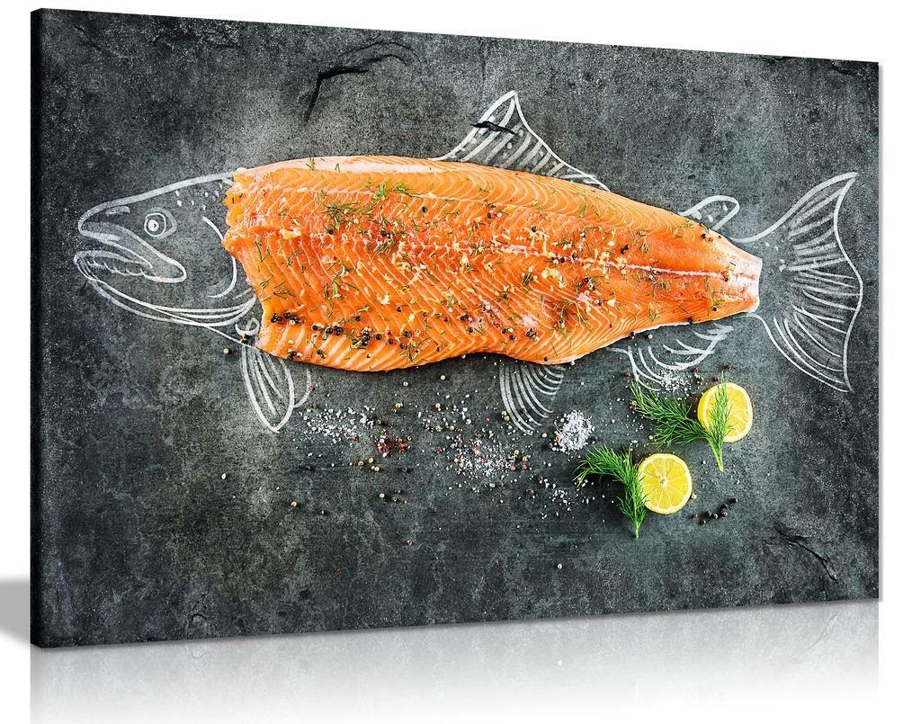 Fresh Fish Salmon Fishmonger Canvas Wall Art Picture Print (30x20in)