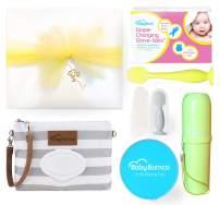 Gender Neutral Baby Bumco Gift Box - Pre-Wrapped & Ready - Diaper Clutch, Diaper Cream Brush, Mini Diaper Cream Brush, Little Booty Fan, and Gloves! (Neutral)