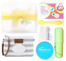 Gender Neutral Baby Bumco Gift Box - Pre-Wrapped & Ready - Diaper Clutch, Diaper Cream Brush, Mini Diaper Cream Brush, Little Booty Fan, and Gloves! (Neutral)