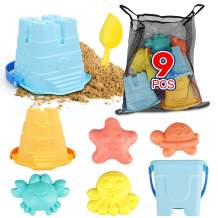 TOY Life Sand Toys for Kids Toddlers - 9 Beach Toys Includes 3 Beach Sand Castle Bucket, Toy Shovel and Sand Castle Toys for Beach - Sandbox Toys Set with Bonus Waterproof Carrying Net for Kids 3-10