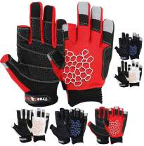 MRX BOXING & FITNESS Sailing Gloves Sticky Palm Gripy Glove Yachting Kayak Dinghy Fishing 2 Cut Finger (Red Medium)
