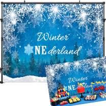 Allenjoy 7x5ft Winter Onederland 1st Birthday Backdrop Winter Onederland Backdrops Ice Crystal Snowflake Onederland Backdrops for Photography Winter Onederland Backdrop for Pictures Props