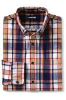 Lands' End Mens Traditional Fit Flagship Flannel Shirt Ivory/deep Sea Plaid Tall Medium