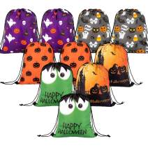 Whaline 10 Pieces Halloween Drawstring Bag Large Trick or Treat Sack Gift Backpack Candy Goodie Bags for Halloween Party Favors