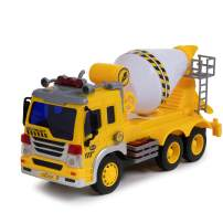 Toy To Enjoy Cement Mixer Truck Toy with Light & Sound Effects - Friction Powered Wheels & Rotating Concrete Mixer - Heavy Duty Plastic Vehicle Toy for Kids & Children