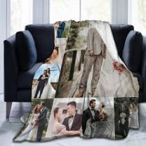 """UKSN Custom Collage Blanket Personalized Blanket with Photo Picture, Soft Flannel Blanket for Lover, Wedding, Valentine's Day Gift, 8 Photos Collage 60""""x50"""""""